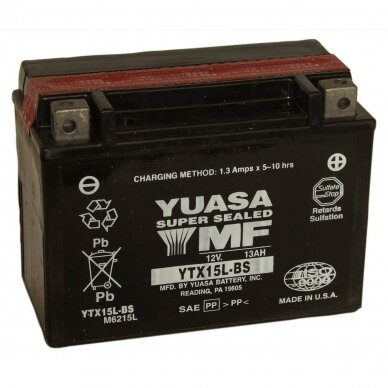 Akumuliatorius YUASA 12V 13Ah 230A YTX15L-BS