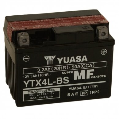 Akumuliatorius YUASA 12V 3Ah 50A YTX4L-BS