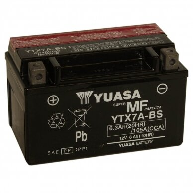 Akumuliatorius YUASA 12V 6Ah 105A YTX7A-BS