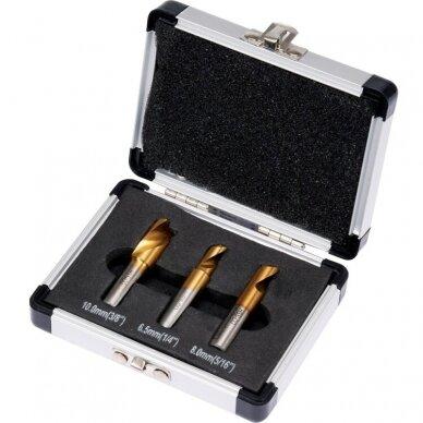 Grąžtų metalui HSS COBALT kontaktiniams taškams nugręžti rinkinys 3 dalių