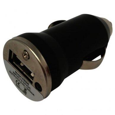 Įkroviklis USB 5V 1A 12-24V automobilinis