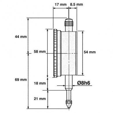 Indikatorius analoginis 0-10mm 0.01mm 2