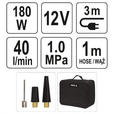 Kompresorius oro mini automobilinis padangų 12V 180W 40L/min 5