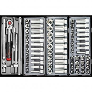Vežimėlis 8 stalčių ir spintelė 5 stalčių su įrankiais 562 dalių 10